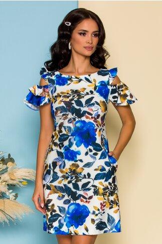 Rochie LaDonna ivory cu decupaje la umeri si imprimeu floral albastru