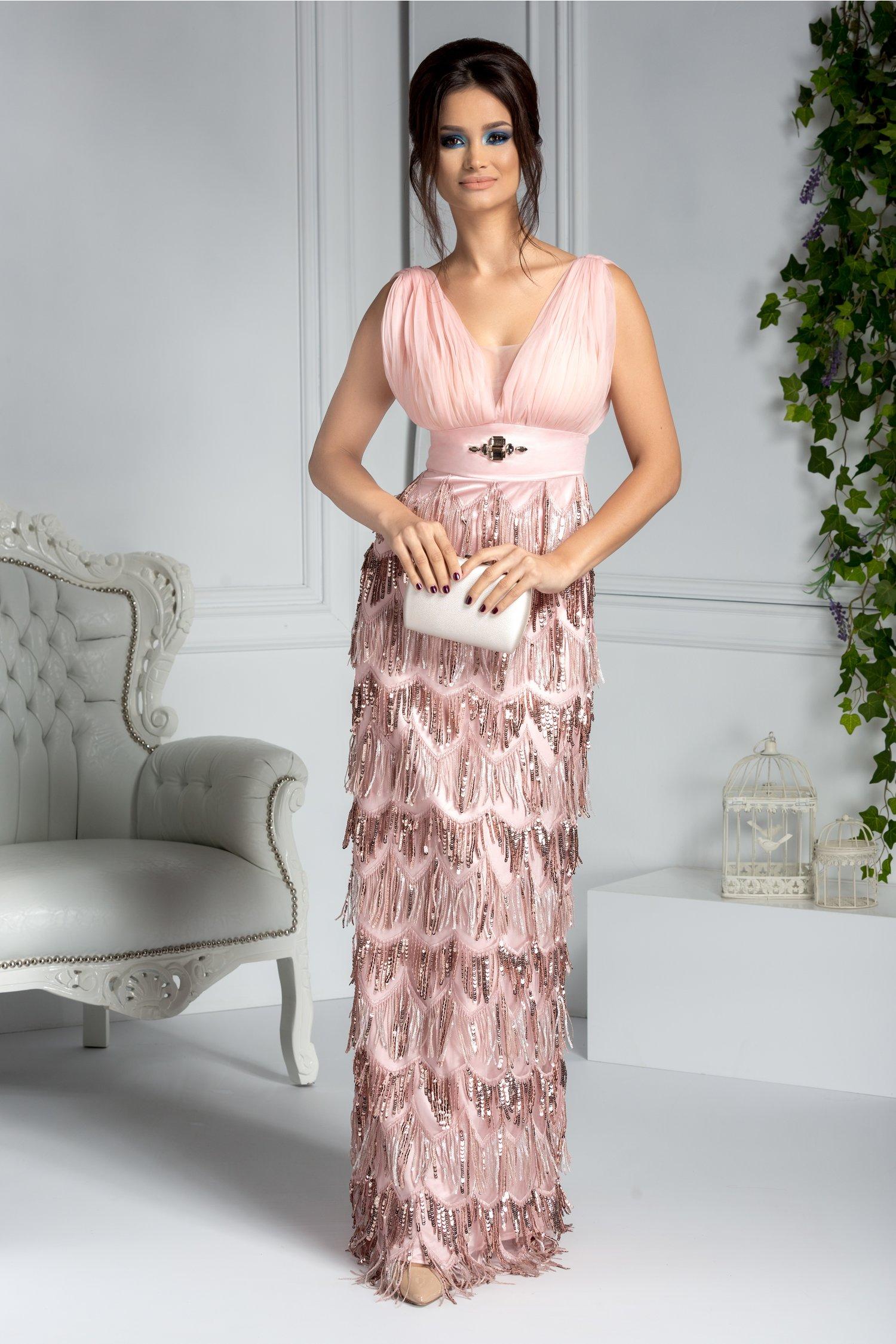 Rochie Ladonna lunga de seara roz cu franjuri din paiete