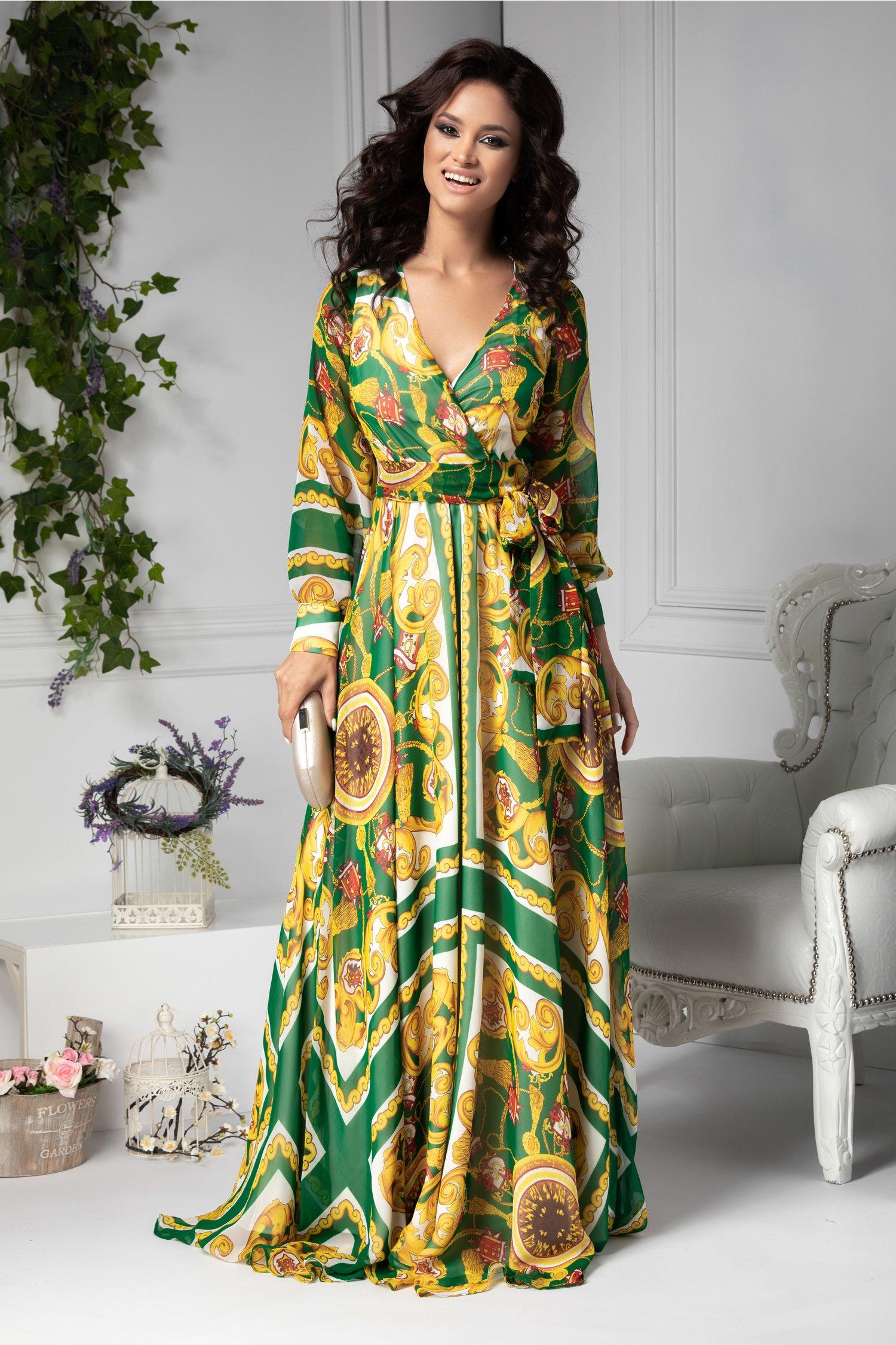 Rochie Ladonna lunga vaporoasa verde cu imprimeu