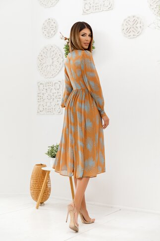 Rochie LaDonna maro cu frunze turcoaz