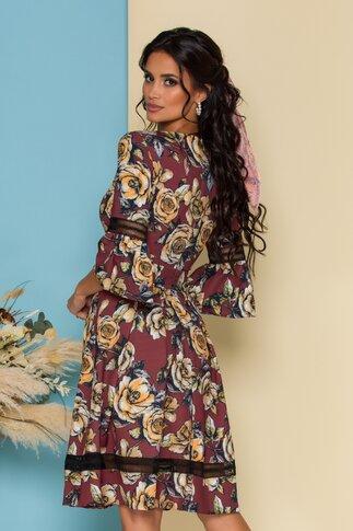 Rochie LaDonna maro cu imprimeu floral si insertii din dantela