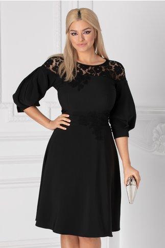 Rochie LaDonna neagra cu dantela florala