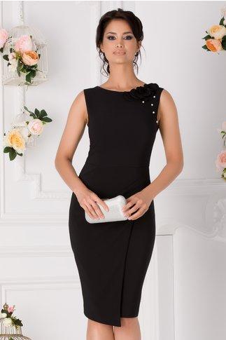 Rochie LaDonna neagra cu flori 3D pe umar si perlute