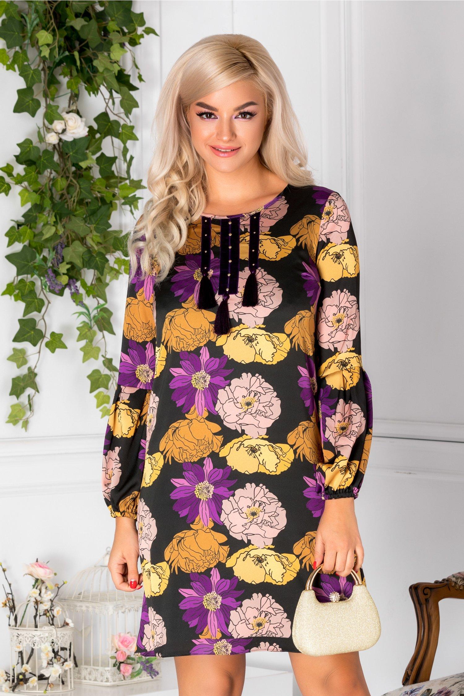 Rochie LaDonna neagra cu flori mari colorate