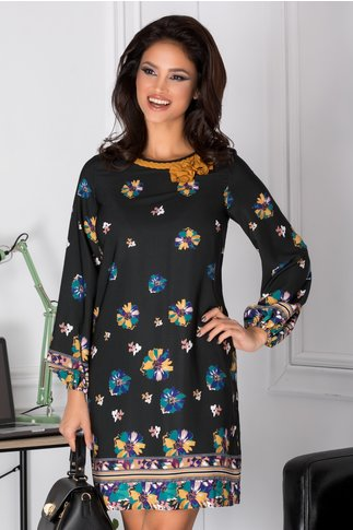 Rochie LaDonna neagra cu floricele pastelate
