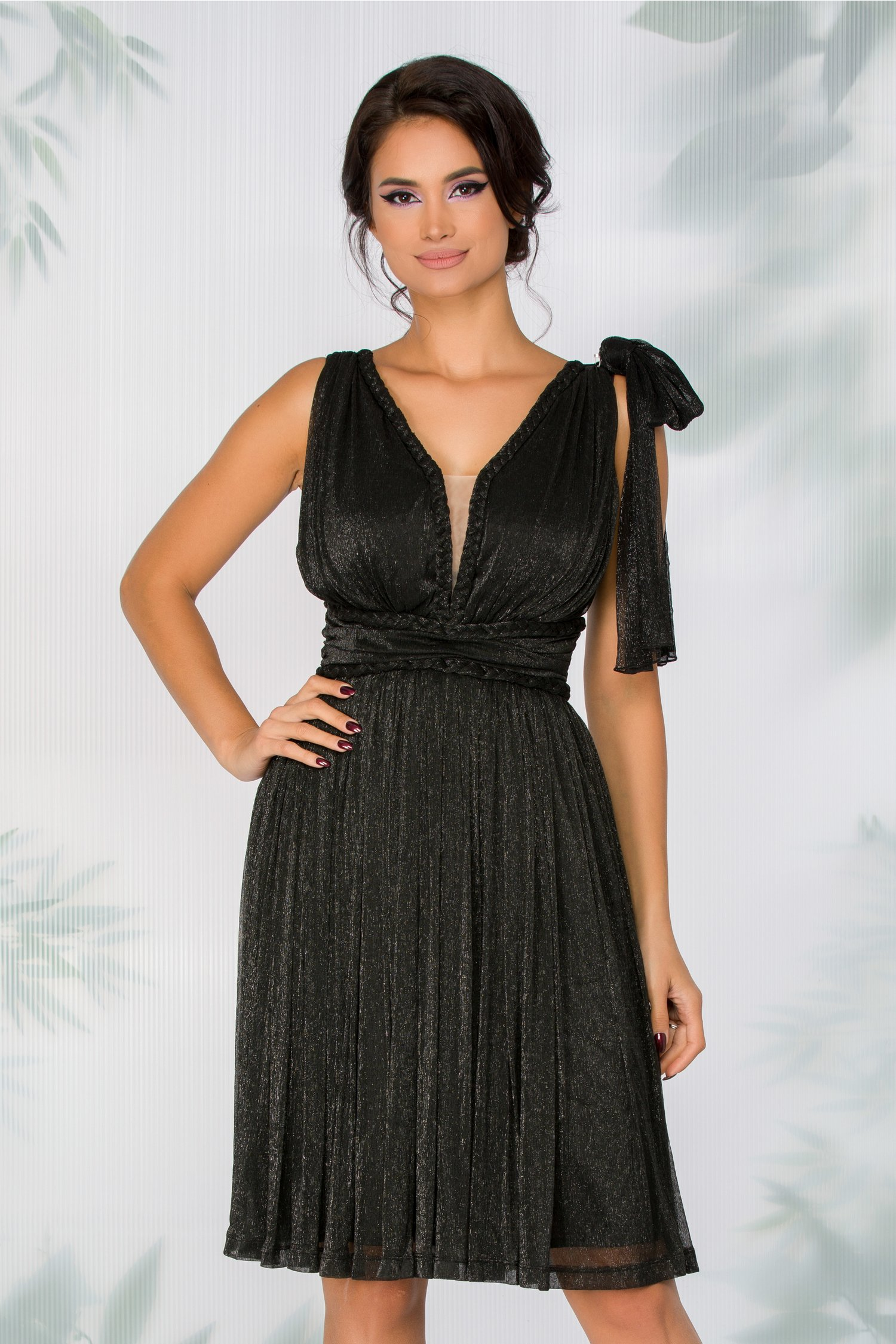 rochie ladonna neagra cu fundita aplicata pe un umar 425188 4
