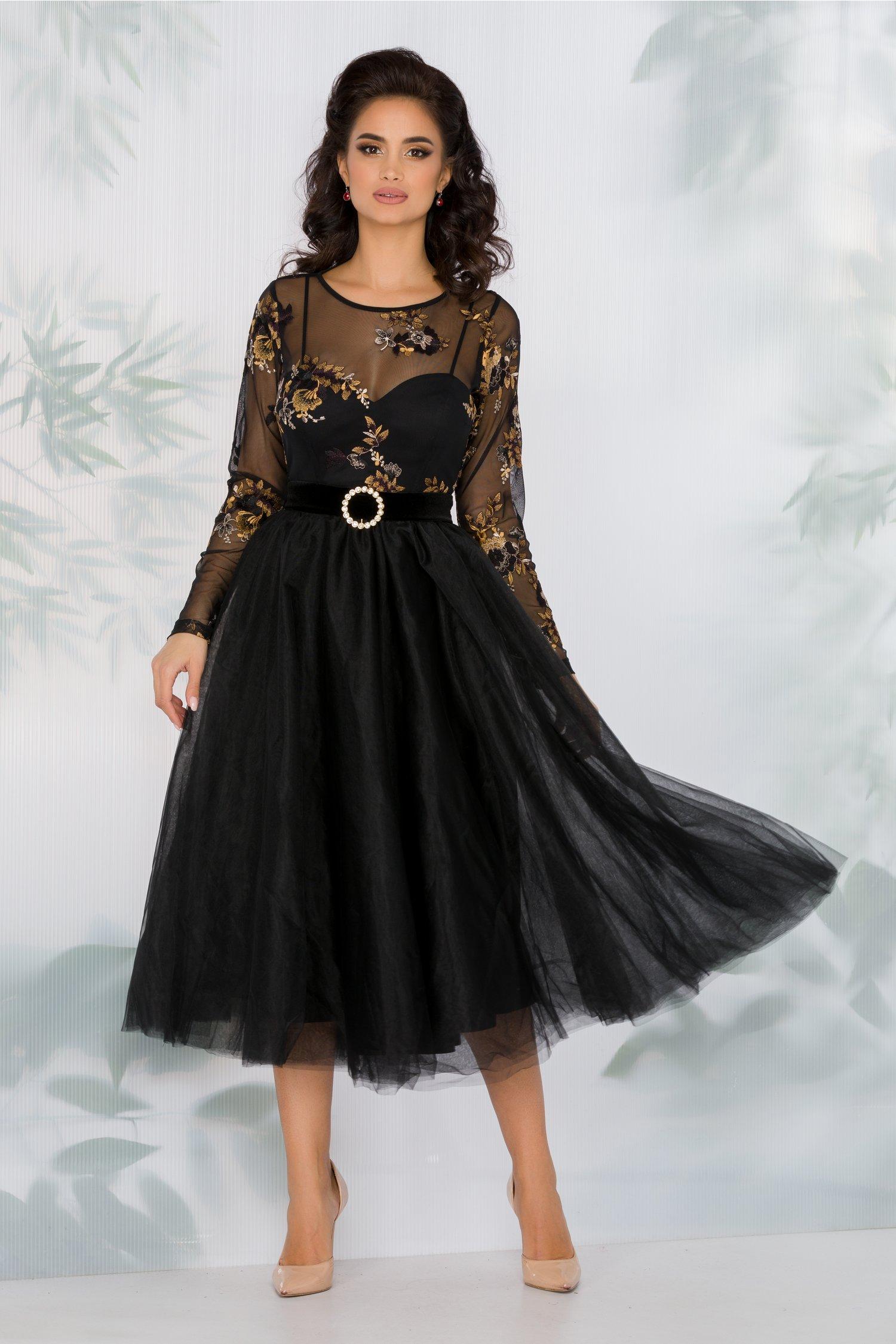Rochie LaDonna neagra cu fusta din tull si broderie florala galbena la bust