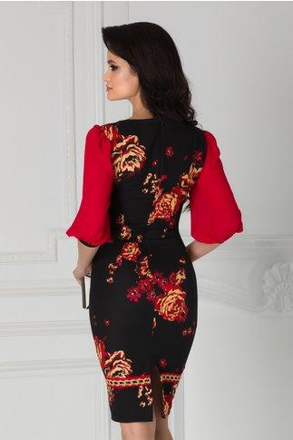 Rochie LaDonna neagra cu imprimeu floral rosu-auriu