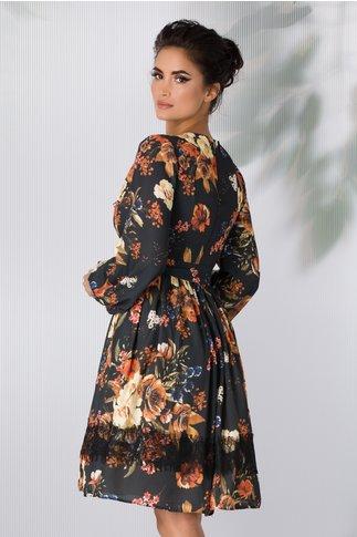 Rochie LaDonna neagra cu imprimeu floral si benzi negre la decolteu si mansete