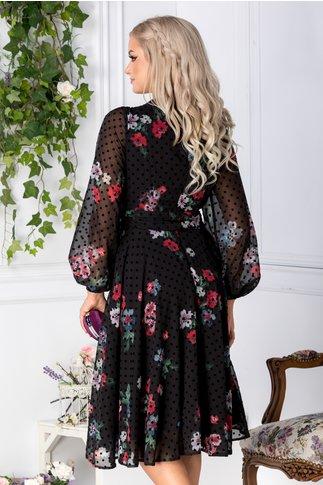 Rochie LaDonna neagra cu imprimeu floral si buline
