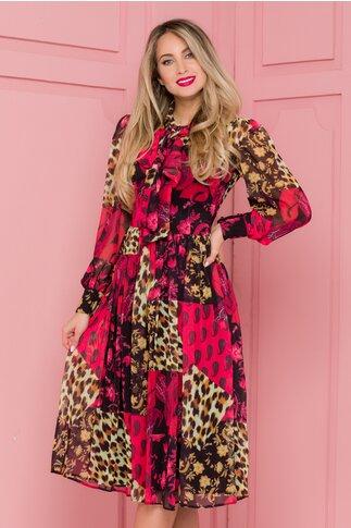Rochie LaDonna neagra cu imprimeu rosu si animal print