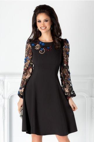Rochie LaDonna neagra cu maneci din tull brodat floral