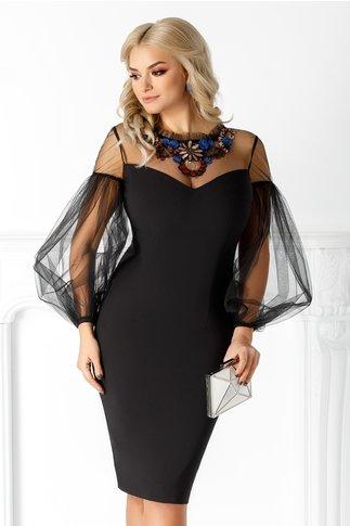Rochie LaDonna neagra cu maneci din tull bufante