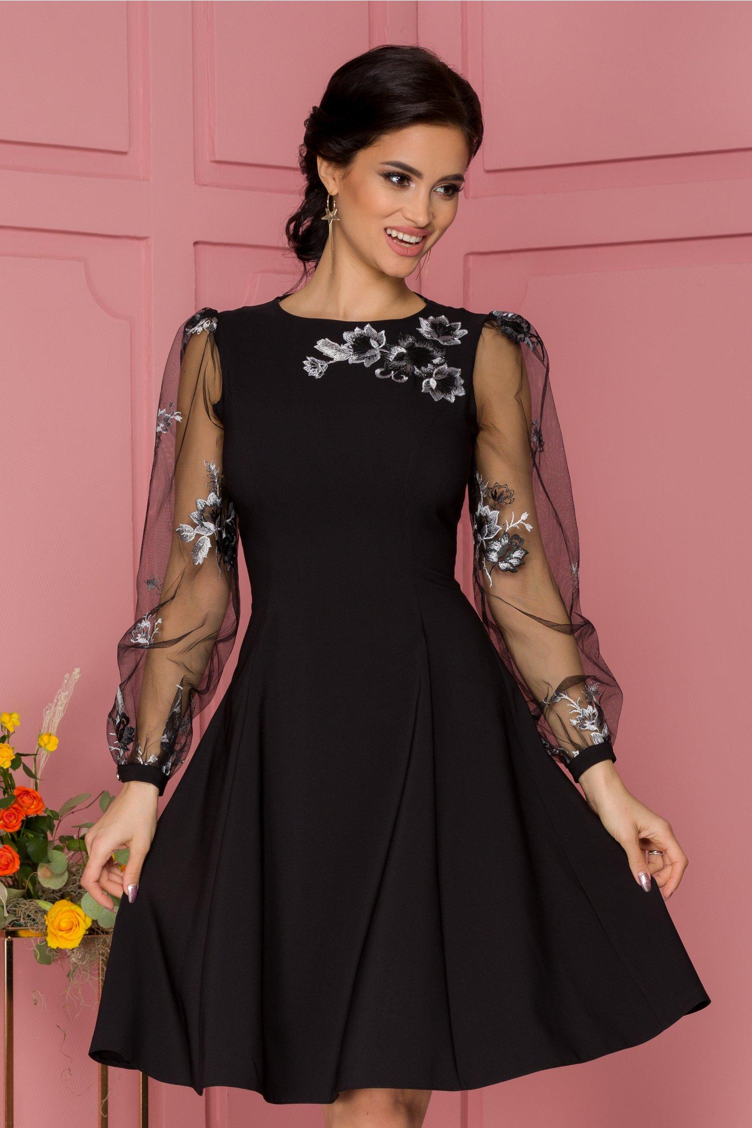 Rochie LaDonna neagra cu maneci din tull si broderie florala