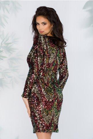 Rochie LaDonna neagra cu paiete multicolore