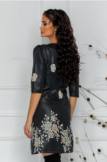 Rochie LaDonna neagra cu trandafiri kaki brodati