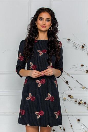 Rochie LaDonna neagra cu trandafiri si dungi