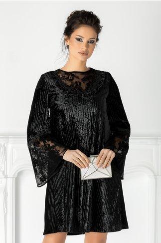 Rochie LaDonna neagra din catifea cu dantela