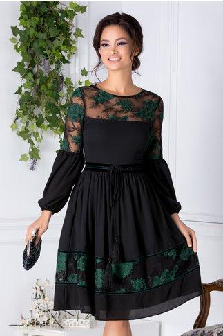 Rochie LaDonna neagra vaporoasa cu insertii florale verzi