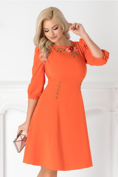 Rochie LaDonna orange cu broderie florala handmade