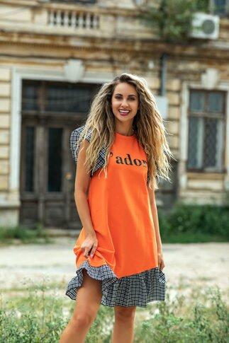 Rochie LaDonna orange cu volane si imprimeu text