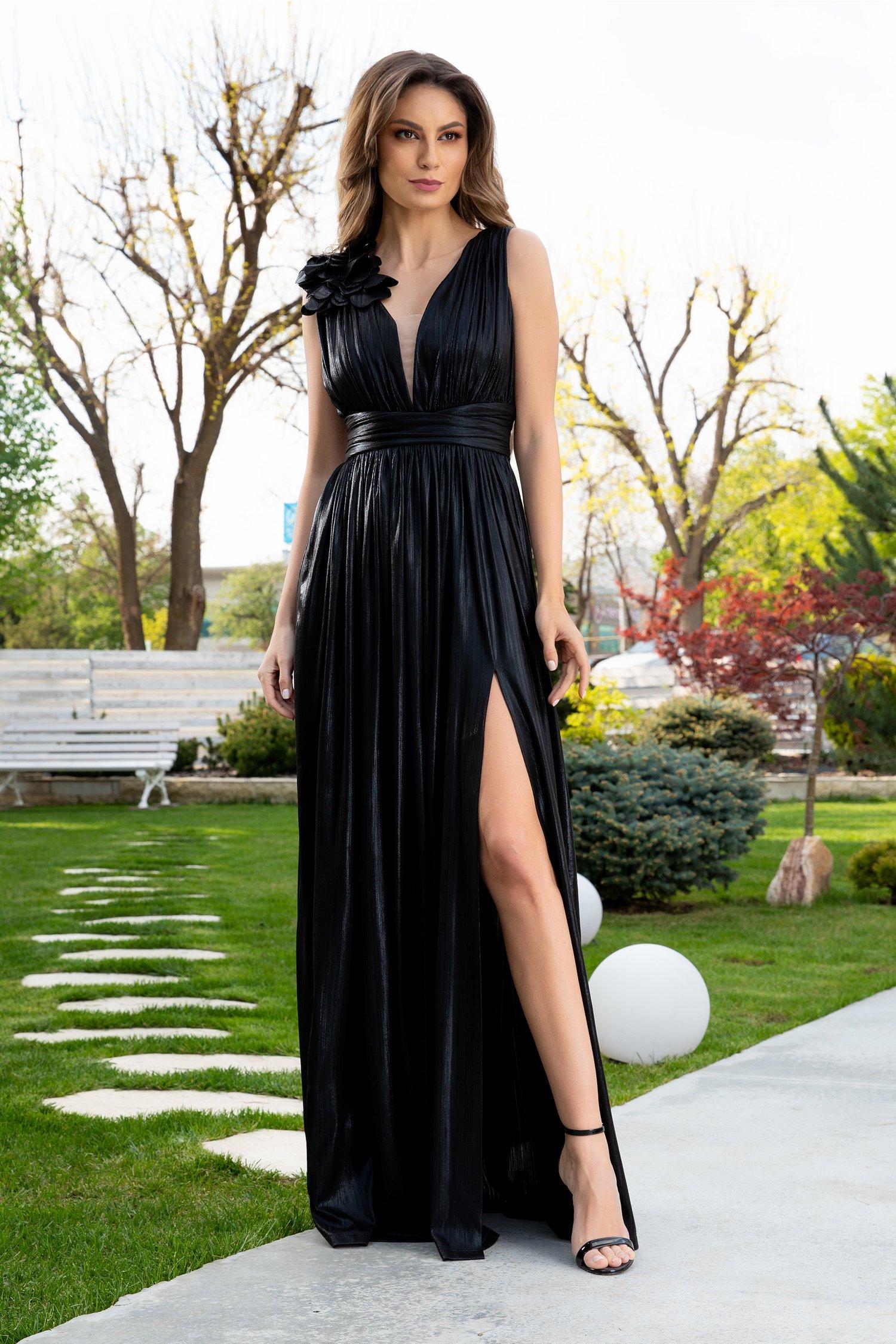 Rochie Ladonna Raysa lunga de seara negru metalizat