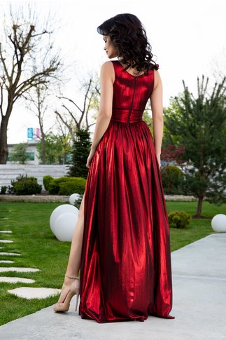 Rochie Ladonna Raysa lunga de seara rosu metalizat