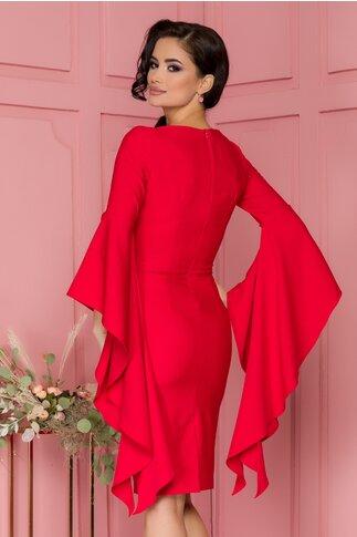 Rochie LaDonna rosie conica cu maneci fantezie