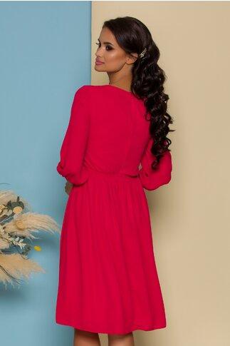 Rochie LaDonna rosie cu bej la bust si broderie florala