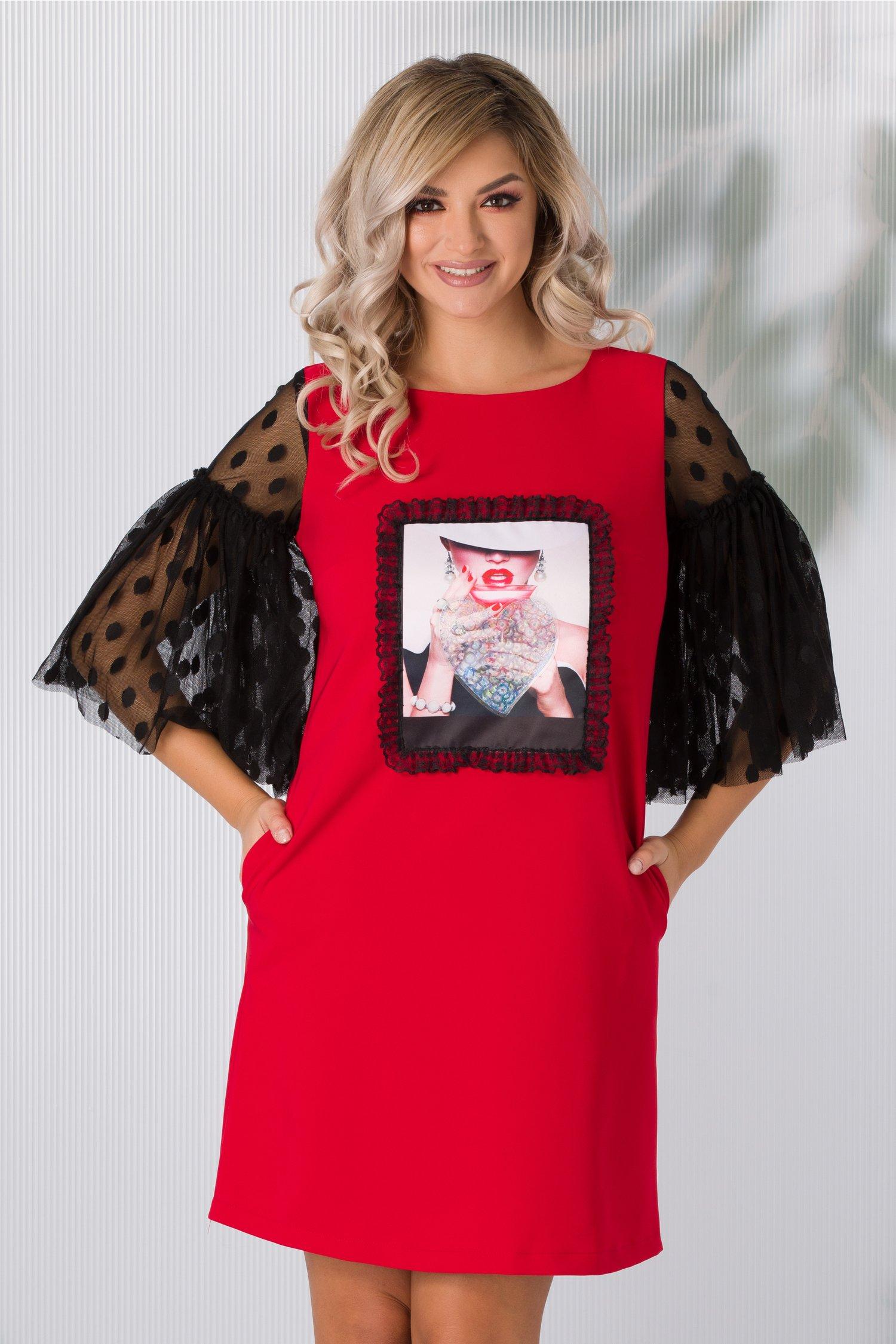 Rochie LaDonna rosie cu imprimeu si maneci clopot din dantela