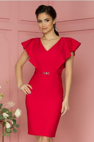 Rochie LaDonna rosie cu volane pe umeri si accesoriu in talie