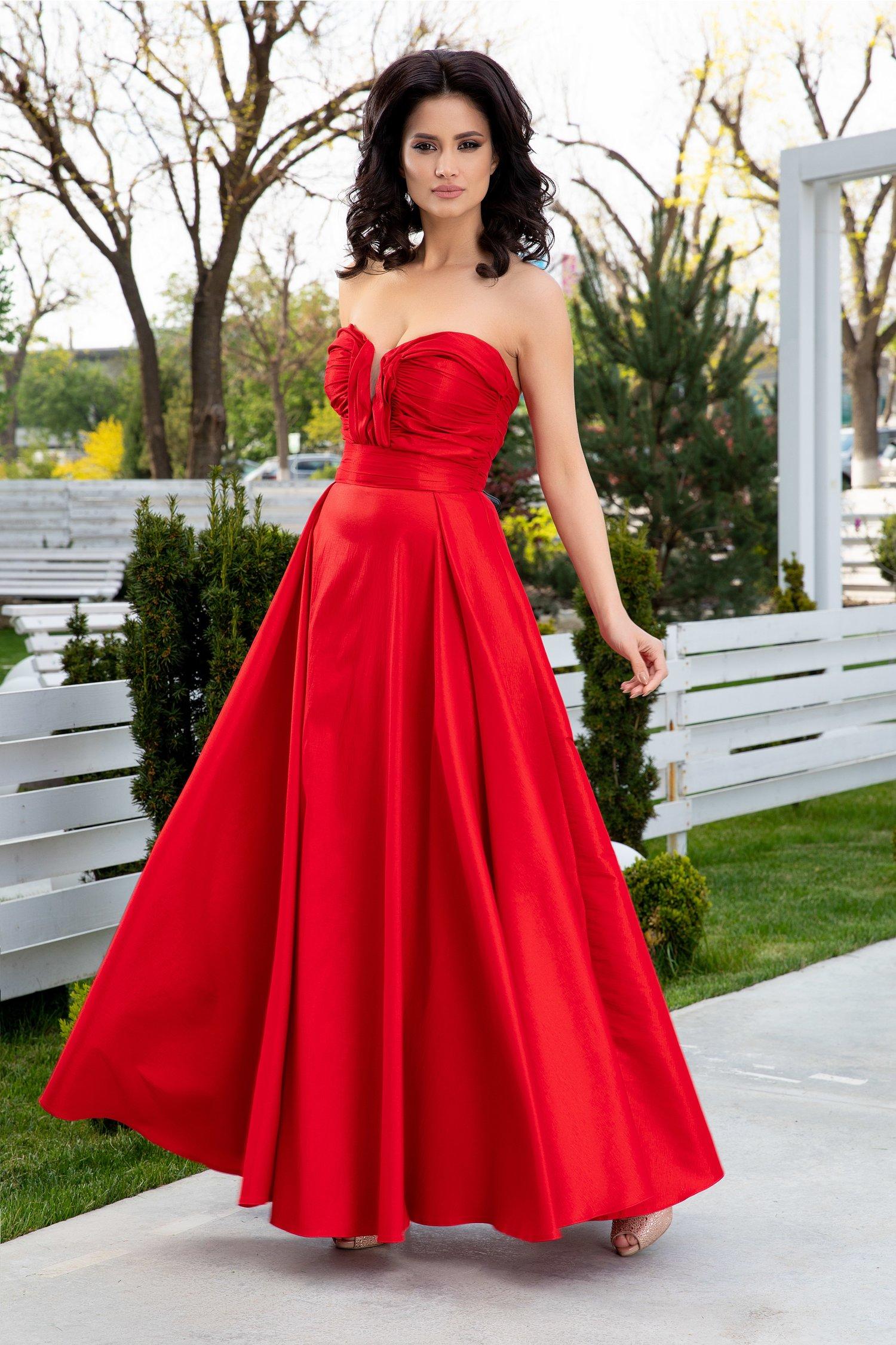 Rochie LaDonna rosie lunga de seara