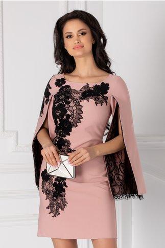Rochie LaDonna roz cu broderie handmade si maneci crapate