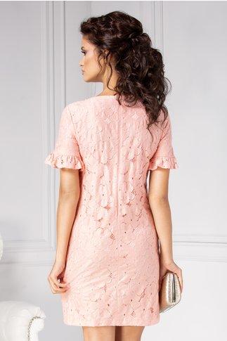 Rochie LaDonna roz cu detalii florale  si perlute la guler