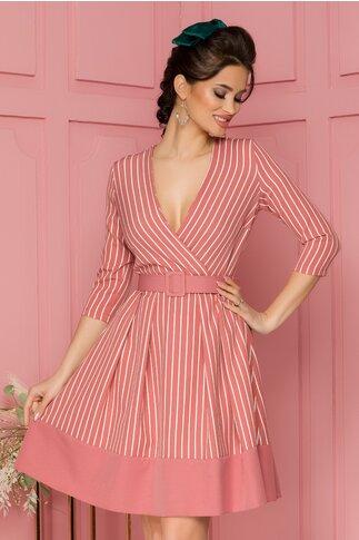 Rochie LaDonna roz cu imprimeu in dungi si curea in talie