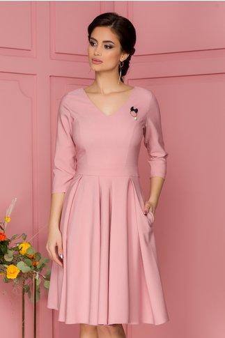 Rochie LaDonna roz cu pliuri maxi in talie