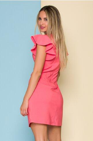 Rochie LaDonna roz piersica cu volane la maneci si flori 3D la decolteu