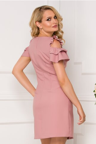 Rochie LaDonna roz prafuit cu decupaje la umeri si buzunare functionale