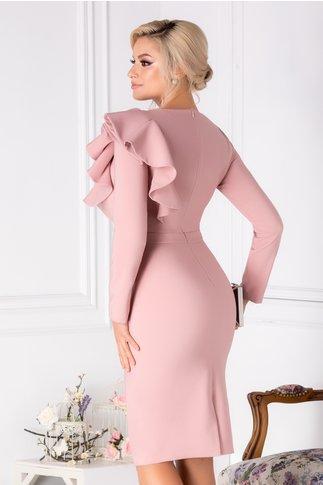 Rochie LaDonna roz prafuit cu volane la umar