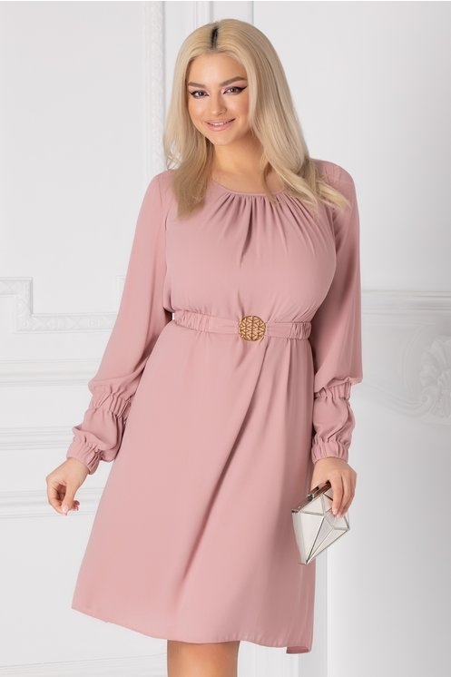 Rochie LaDonna roz prafuit vaporoasa cu cordon in talie