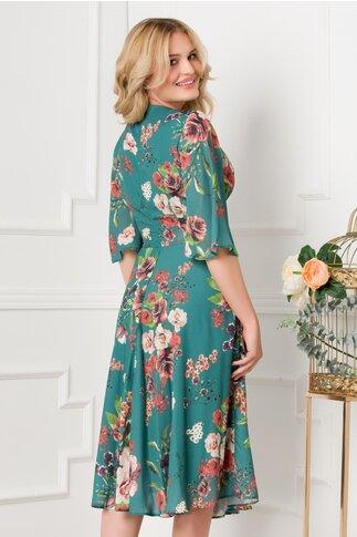 Rochie LaDonna turcoaz cu imprimeu floral