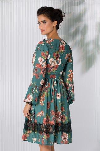 Rochie LaDonna turcoaz cu imprimeu floral si benzi negre la decolteu si mansete