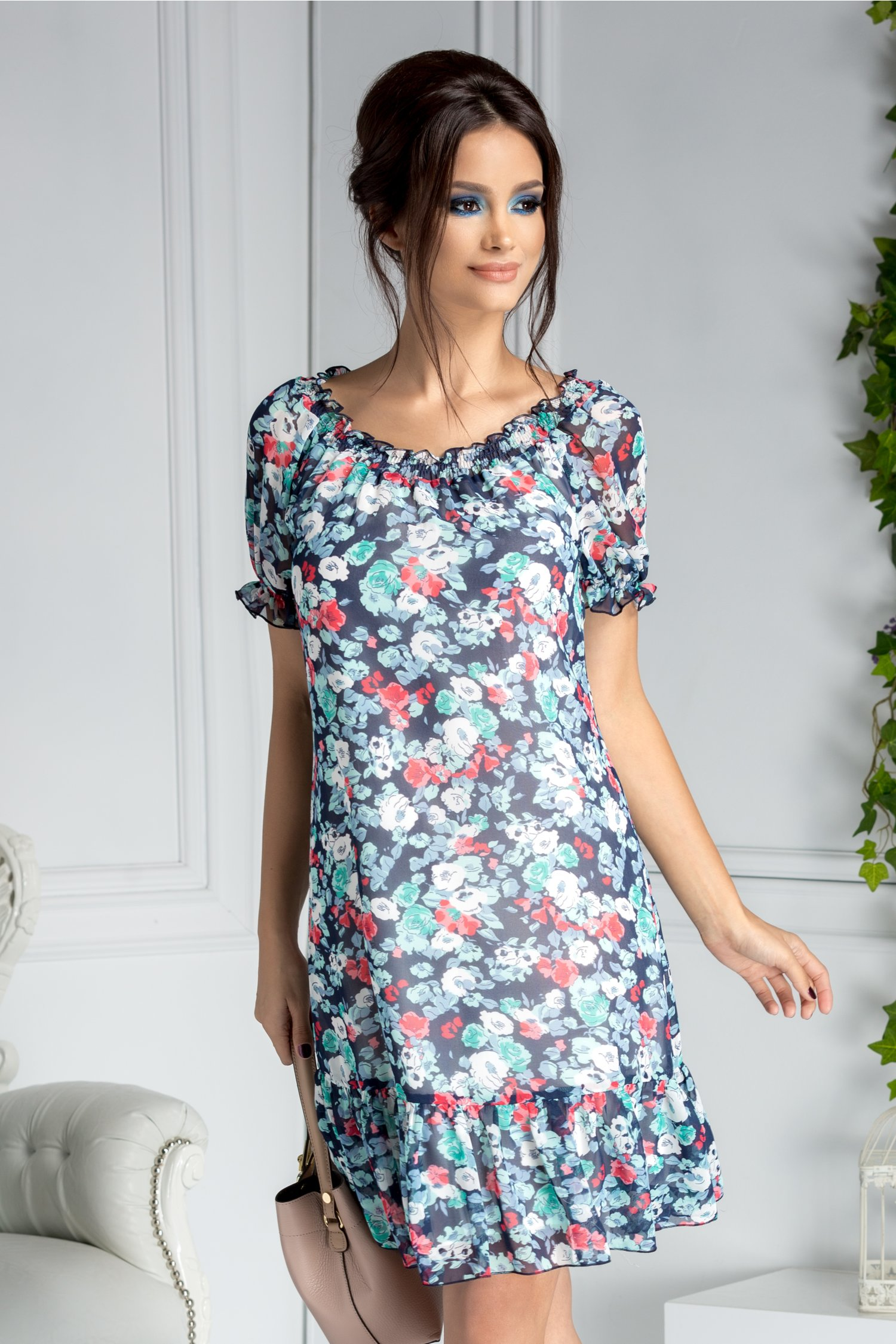 Rochie Ladonna vaporoasa de vara bleumarin cu imprimeu floral