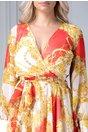 Rochie Ladonna vaporoasa rosie cu imprimeuri galbene