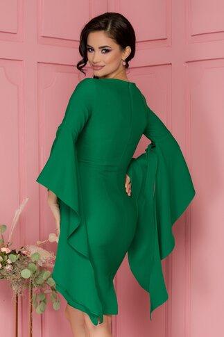 Rochie LaDonna verde conica cu maneci fantezie