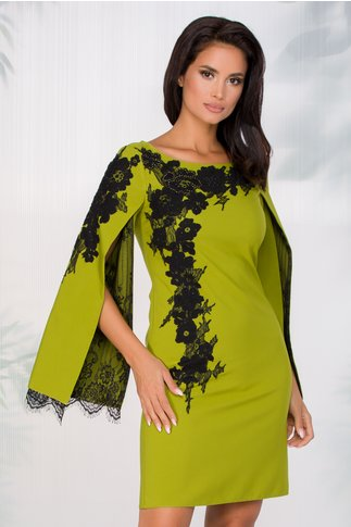 Rochie LaDonna verde crud cu broderie handmade si maneci crapate