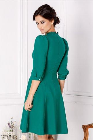 Rochie LaDonna verde cu dantela si fundita la bust