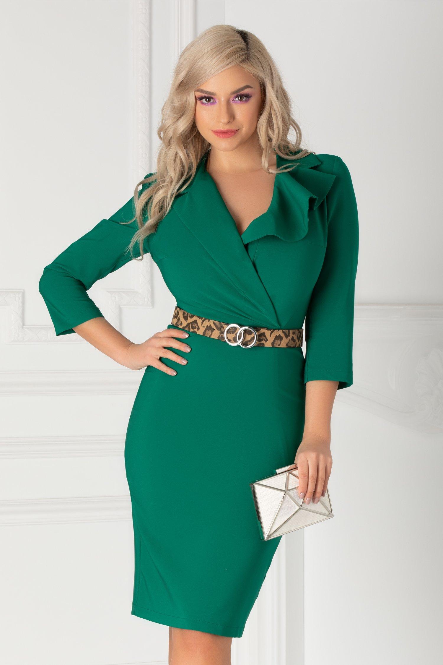 Rochie Ladonna verde cu decolteu petrecut si curea animal print