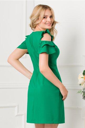 Rochie LaDonna verde cu decupaje la umeri si buzunare functionale