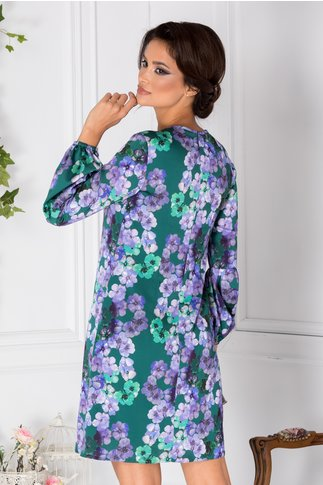 Rochie LaDonna verde cu imprimeu floral mov